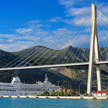Docks where cruise ships arrive in Dubrovnik, Croatia